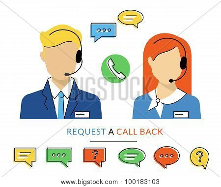 Female and male call centre operator