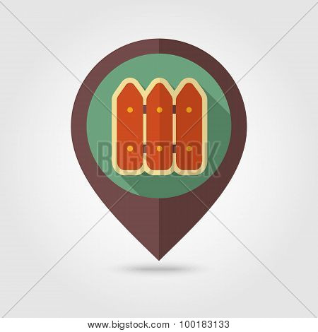 Fence Flat Mapping Pin Icon With Long Shadow