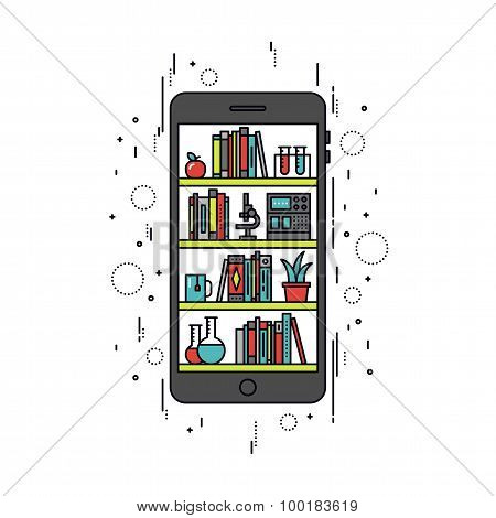 Mobile Education Line Style Illustration