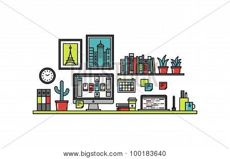 Interface Designer Desk Line Style Illustration