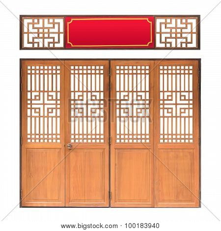 Traditional Asian Window And Door Pattern, Wood, Chinese Style With Clipping Path,