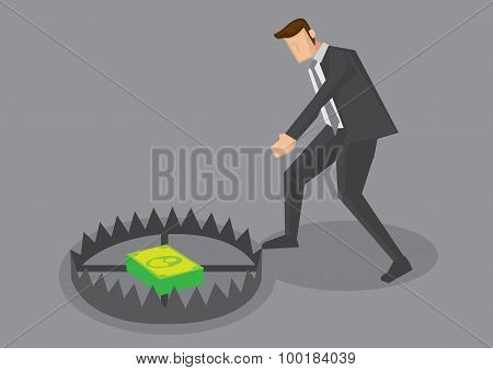 Businessman And Money Trap Vector Cartoon Illustration