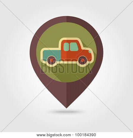Pickup Truck Flat Mapping Pin Icon