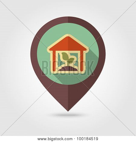 Greenhouse Flat Mapping Pin Icon With Long Shadow