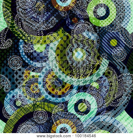 Abstract geometric background with paisley pattern.