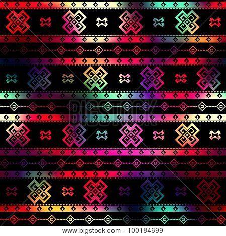Ethnic geometric ornament on black background.