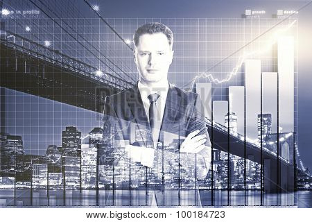 Double Exposure With Businessman And Business Chart