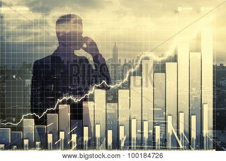 Double Expplosure With Businessman Silhouette And Business Chart