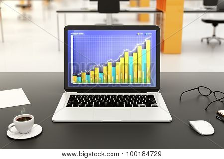 Laptop With Business Graph On A Table In Office