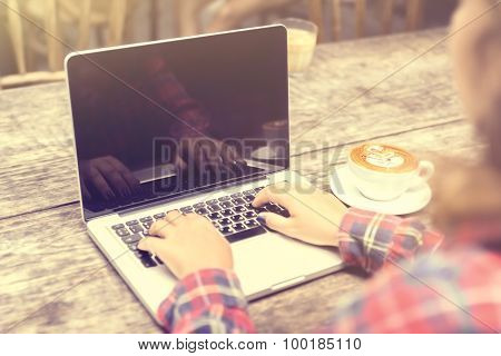 Girl With Laptop And Cup Of Coffee, Vintage Photo Effect