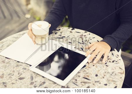 Man With Blank Notebook, Digital Tablet And Coffee