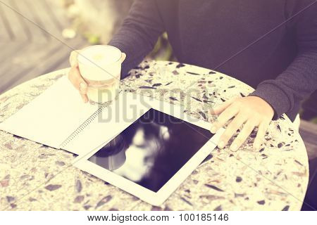 Digital Tablet, Blank Diary And Coffee, Vintage Photo Effect
