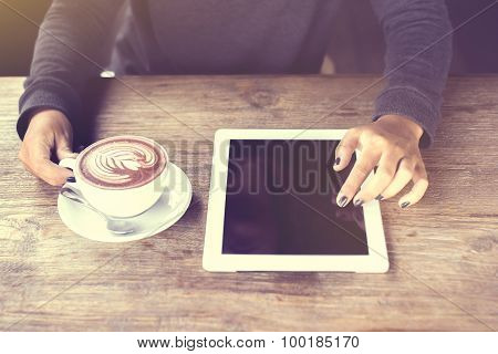 Girl Hands, Digital Tablet And Coffee, Vintage Photo Effect