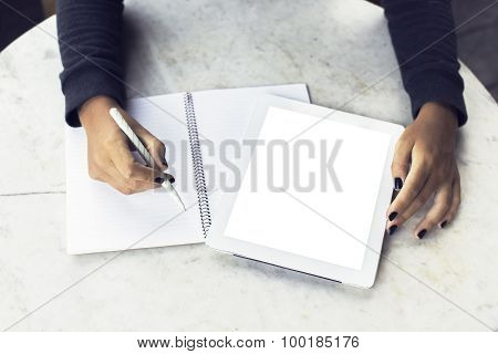 Girl Hands With Blank Digital Tablet And Blank Diary, Mock Up