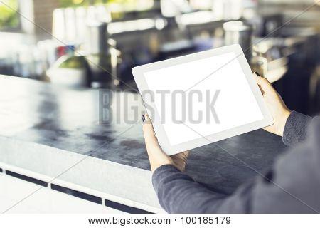 Girl Hands With Blank Digital Tablet, Mock Up