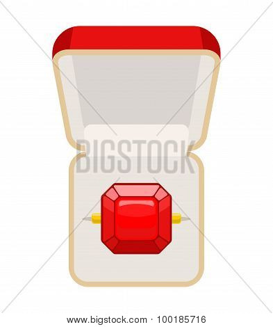 Ring With Ruby. Open Box For Jewelry. Illustration For Betrothal. Wedding Ring. Vector Illustration