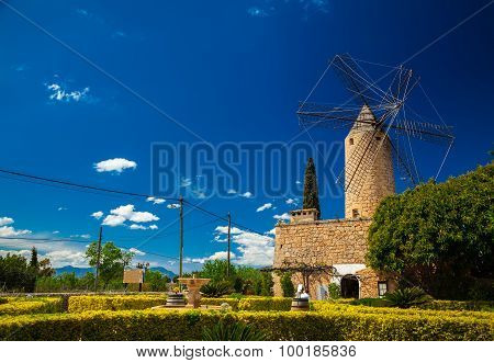 Landscape With Traditional Windmill In Mallorca