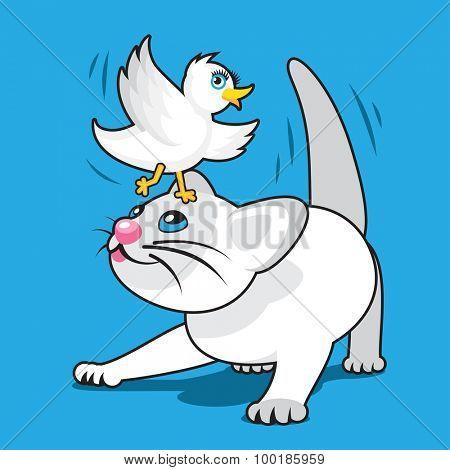 Playful Cartoon White Kitten with White Bird on Head
