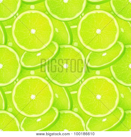 Green juicy lime slice vector seamless pattern