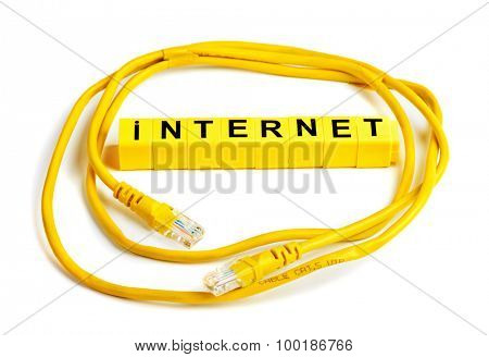 Internet cable cat.5 UPD with RJ45 plug connection