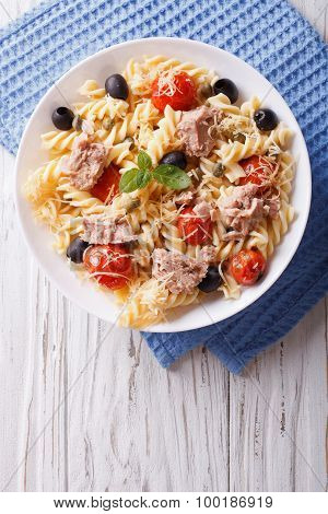 Fusilli Pasta With Tuna, Tomatoes And Parmesan. Vertical Top View