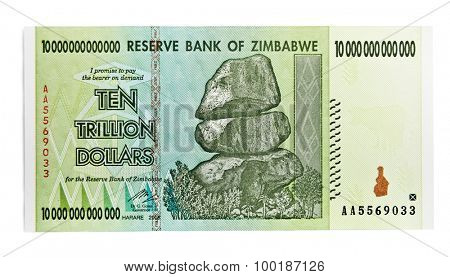 Zimbabwe ten trillion dollars bill - hyper inflation concept. (This banknote not used in present days)