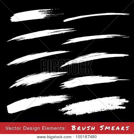 Set of White Hand Drawn Grunge Brush Smears