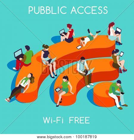 Free Wifi Concept Isometric