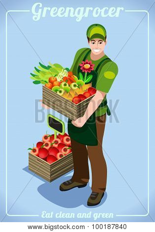 Greengrocer Services People Isometric
