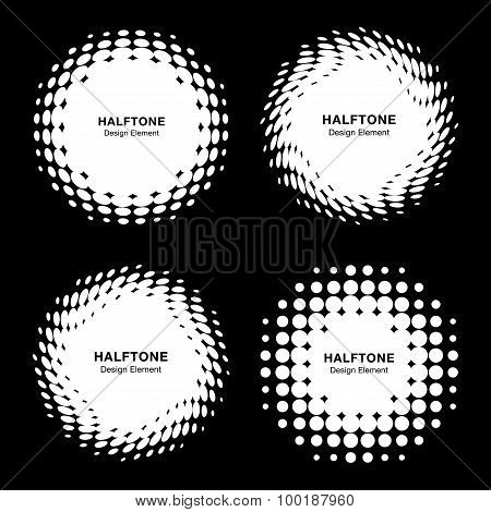 Set of White Abstract Halftone Design Elements