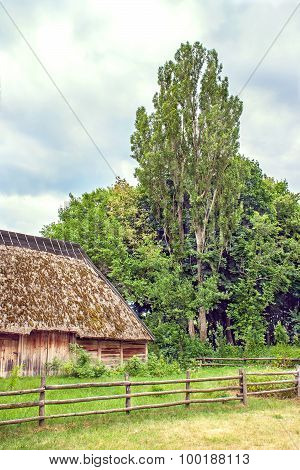 Ukrainian Wooden Barn Thatched Locked Up