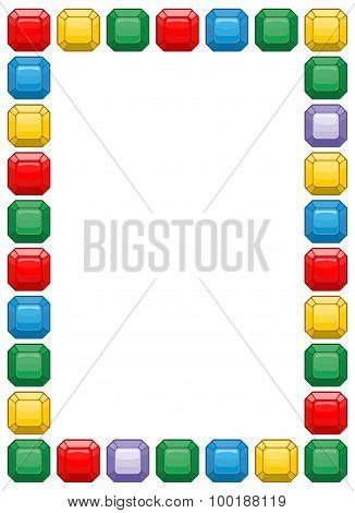 Diamond Frame With Space For Text. Colored Gemstones Background Vector.