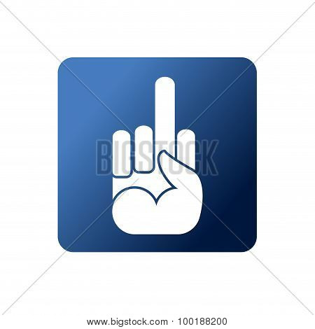 Fuck Flat Web Icon. Symbol Naughty On A Blue Background. Social Networking Icons. Hand With Finger