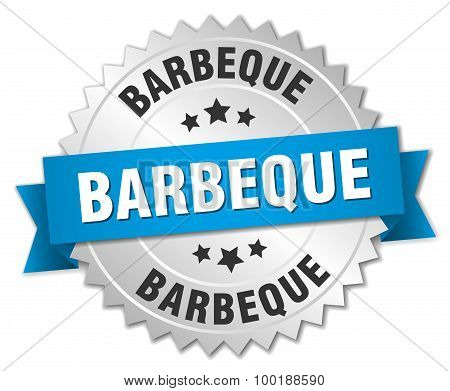 Barbeque 3D Silver Badge With Blue Ribbon
