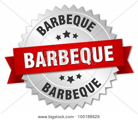 Barbeque 3D Silver Badge With Red Ribbon