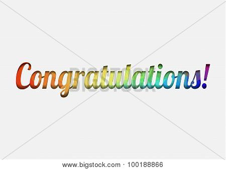 Vector congratulations celebration card with colour letters