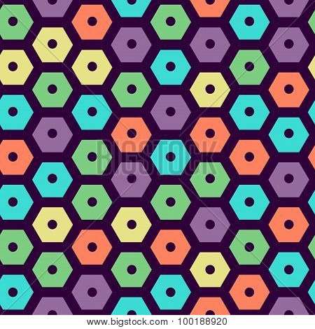 vector color seamless hexagonal pattern violet, green, yellow, dark violet, red and cyan colors