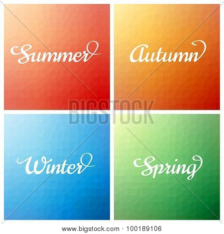 set of four low poly triangular colour background with time of year