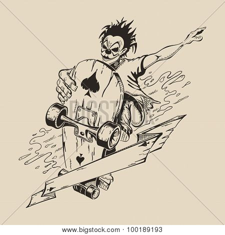 Picture of Man in mask of clown to perform tricks on a skateboard.