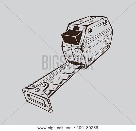 It is monochrome illustration of construction measuring meter.