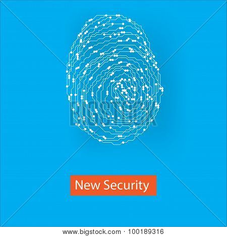 Vector white fingerprint style to computer board on blue background with new security caption