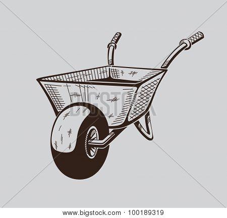 It is monochrome illustration of wheelbarrow.