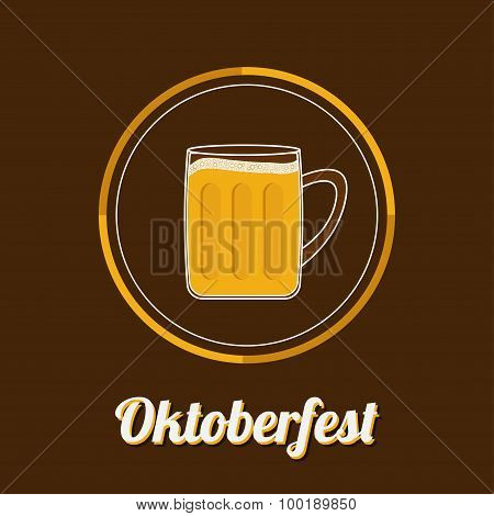 Oktoberfest Beer Glass Mug With Foam Cap Froth Bubble. Big Icon Flat Design
