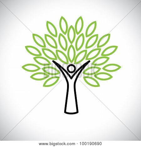 People Tree Line Icon With Green Leaves - Eco Concept Vector