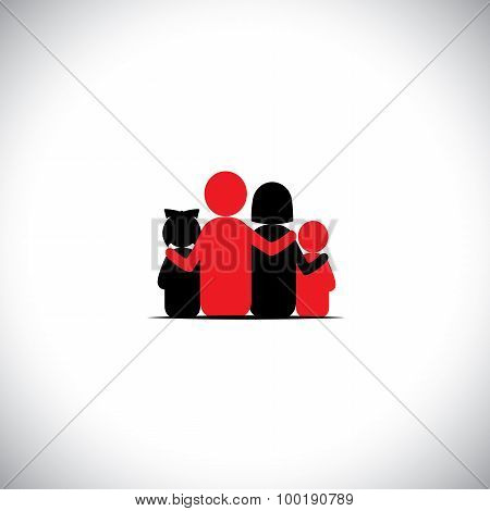 Parents And Children Together Relationship Bonding - Vector Icon