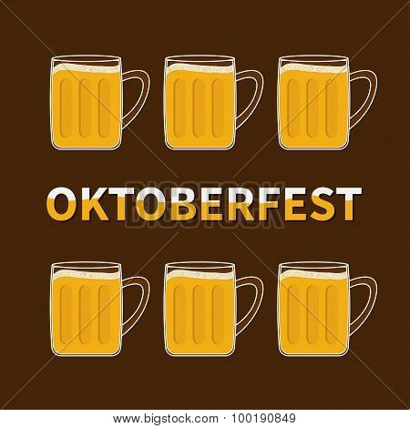 Oktoberfest Six Beer Glass Mug With Foam Cap Froth Bubble. Flat Design