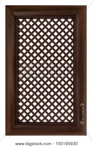 Wooden Furniture Door With A Lattice, Isolated On White Background
