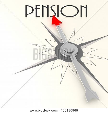 Compass With Pension Word
