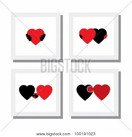 Set Of Heart And Love Symbols Of Empathy, Compassion, Care - Vector Icons