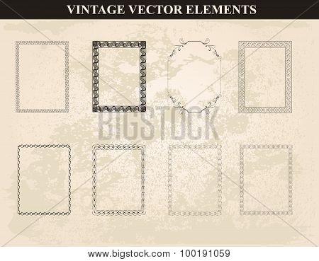 Decorative Vintage Frames And Borders Set Vector